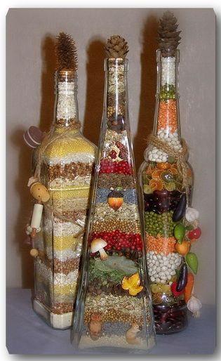 Декоративные бутылки своими руками фото